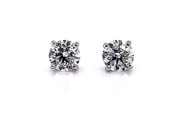 14kt White Gold Ladies 1.13ctw Round Diamond Stud Earrings