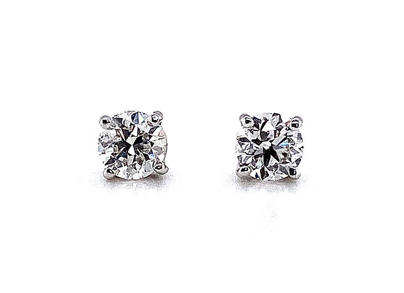 14kt White Gold Ladies 1.02ctw Round Diamond Stud Earrings