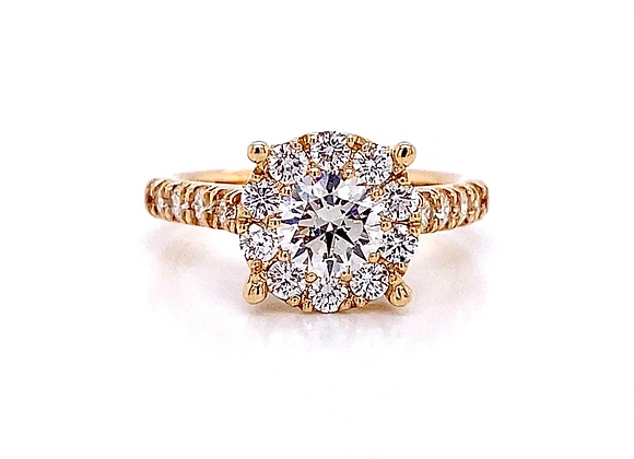 14kt Yellow Gold 1.42ctw Round Diamond Halo Ring