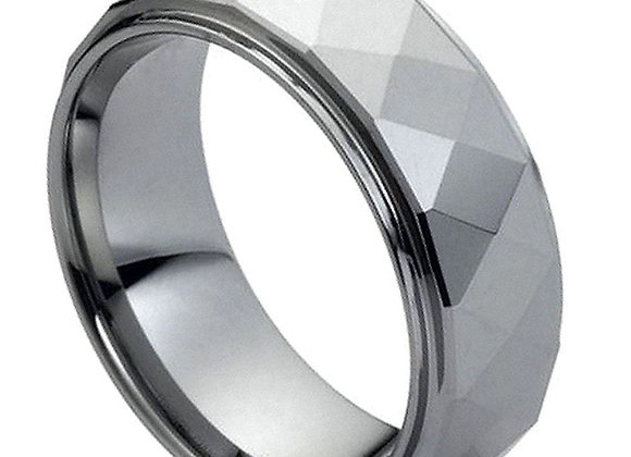 Gray Tungsten Faceted Gents Band