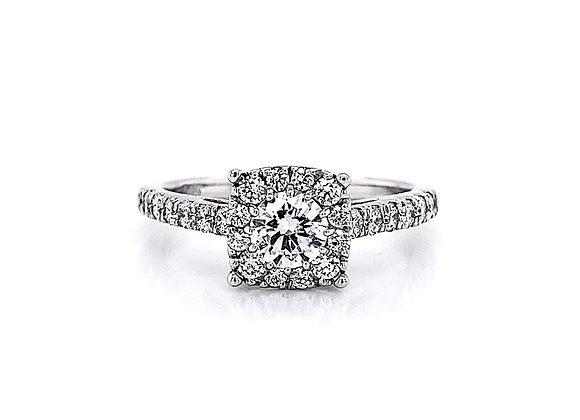 14kt White Gold 0.93ctw Round Diamond Halo Ring