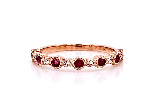 14kt Rose Gold 0.44 Ruby Gemstone and Round Diamond Band