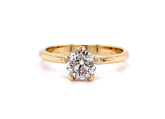 14kt Yellow Gold 0.91ct Round Diamond Solitaire Ring
