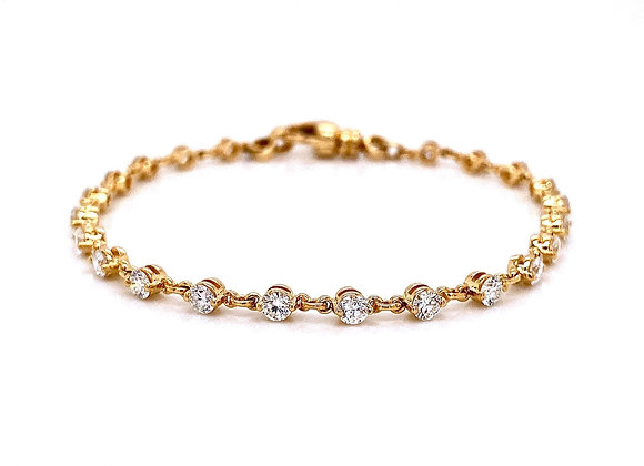 14kt Yellow Gold Ladies 2.12ctw Round Diamond Tennis Link Bracelet