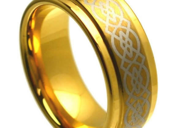 Gold Tungsten Celtic Gents Band