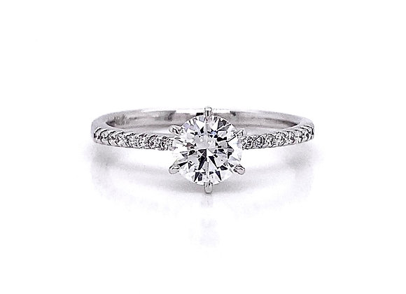 14kt White Gold 0.70ctw Round Diamond Side Stone Ring