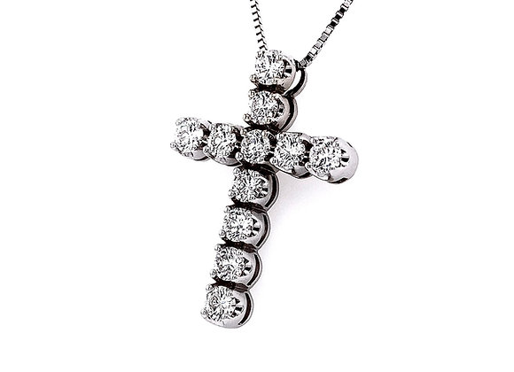 14kt White Gold 1.83ctw Round Diamond Cross Pendant