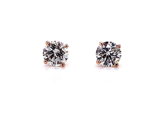 14kt Rose Gold Ladies 1.01ctw Round Diamond Stud Earrings