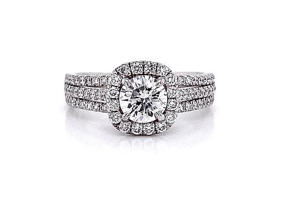 14kt White Gold 1.20ctw Round Diamond Halo Ring