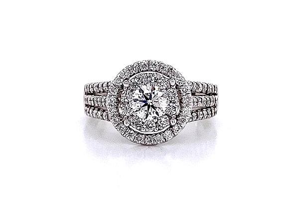 14kt White Gold 1.33ctw Round Diamond Double Halo Ring