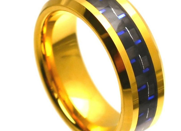 Yellow Gold Tungsten Carbon Fiber Gents Band