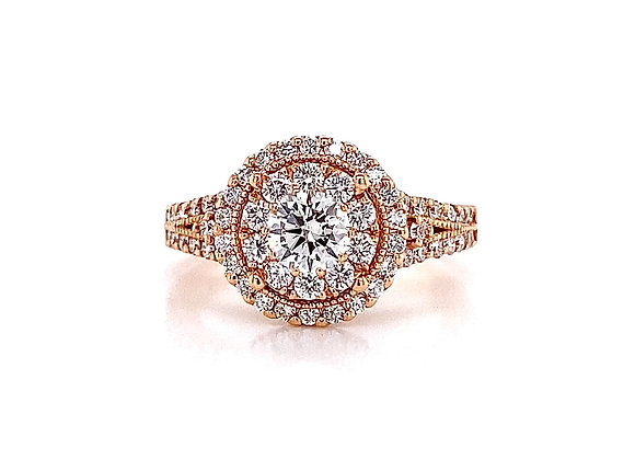 14kt Rose Gold 1.22ctw Round Diamond Double Halo Ring