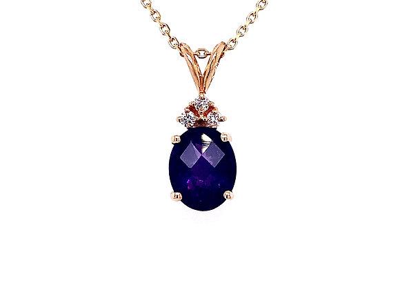 14kt Yellow Gold Amethyst Gemstone and Diamond Pendant