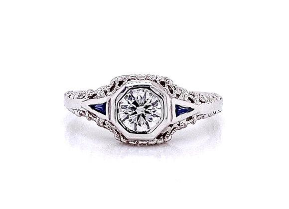 14kt White Gold 0.72ctw Round Diamond & Sapphire Gemstone Ring