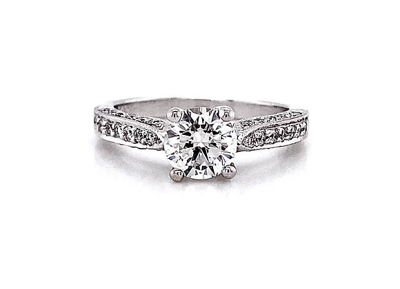 14kt White Gold 1.22ctw Round Diamond Side Stone Ring