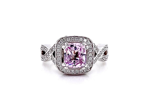 14kt White Gold 2.51ctw Pink Sapphire and Round Diamond Pavé Vintage Halo Ring