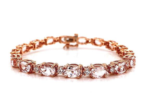 14kt Rose Gold 12.24ctw Morganite Gemstone and Diamond Bracelet