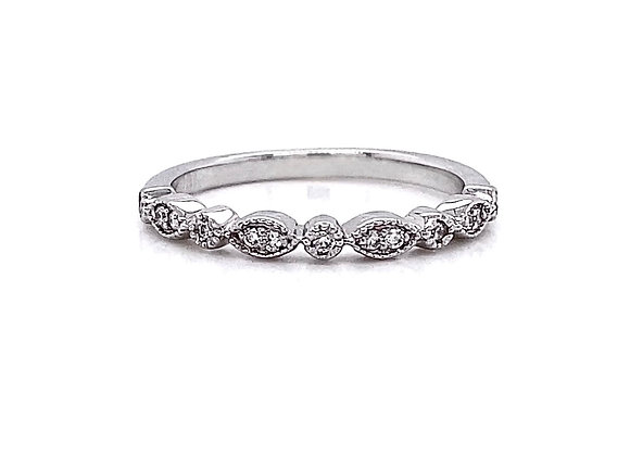 14kt White Gold 0.09ctw Round Diamond Band