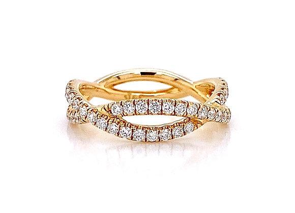 14kt Yellow Gold 0.62ctw Round Diamond Swirl Band