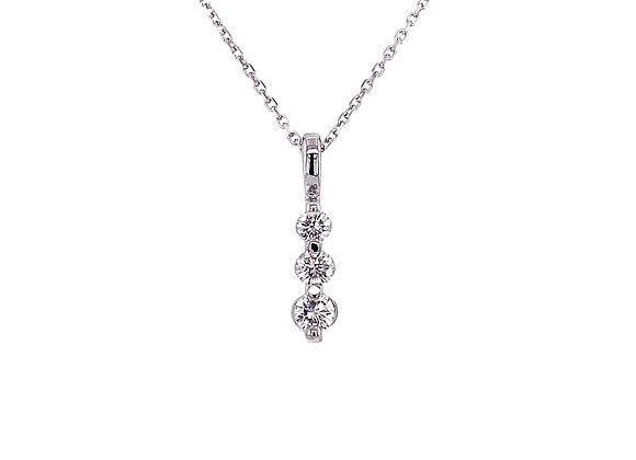 14kt White Gold Ladies Round Diamond 3-Stone Pendant