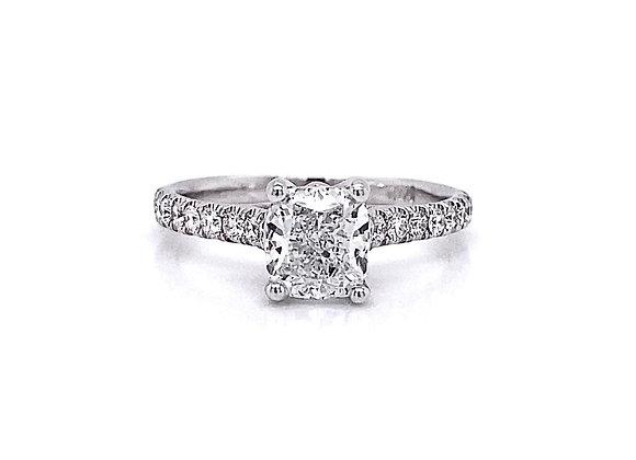 14kt White Gold 1.47ctw Cushion Cut Diamond Side Stone Ring