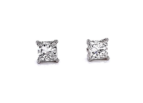 14kt White Gold 1.90ctw Princess Cut Diamond Stud Earrings