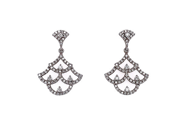 14kt White Gold Ladies Vintage Style Diamond Earrings