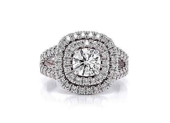 14kt White Gold 1.66ctw Round Diamond Double Halo Ring
