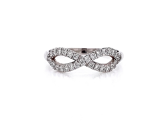 14kt White Gold 0.30ctw Round Diamond Infinity Style Band