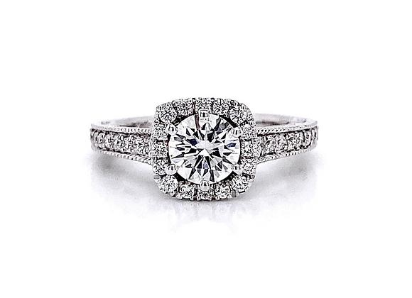 14kt White Gold 1.10ctw Round Diamond Halo Ring