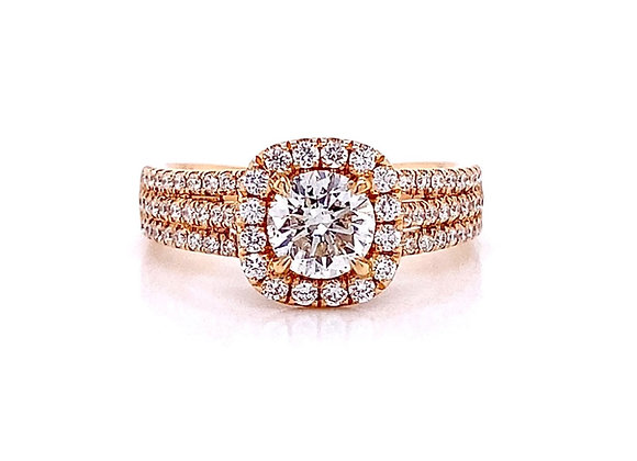 18kt Rose Gold 1.21ctw Round Diamond Halo Ring