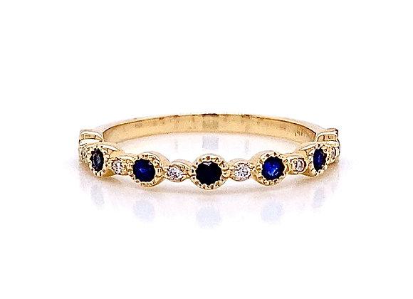 14kt Yellow Gold 0.30ctw Sapphire Gemstone and Round Diamond Band