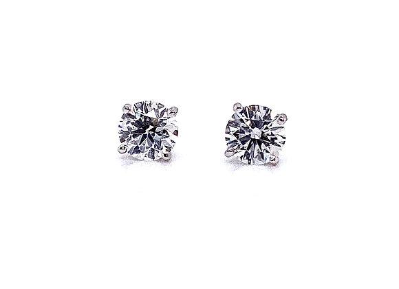 14kt White Gold Ladies 0.95ctw Round Diamond Stud Earrings