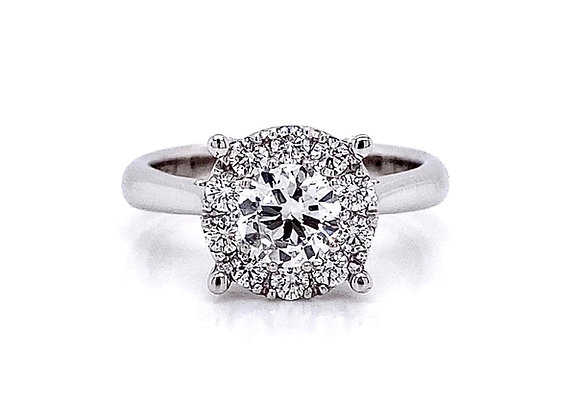 14kt White Gold 1.07ctw Round Diamond Halo Solitaire Ring