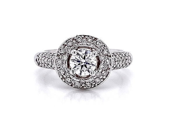 14kt White Gold 1.00ctw Round Diamond Double Halo Ring