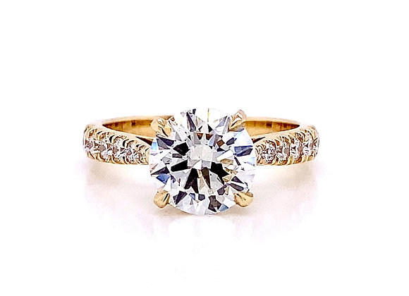 14kt Yellow Gold 2.39ctw Round Diamond Side Stone Ring