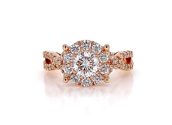 14kt Rose Gold 1.40ctw Round Diamond Swirl Halo Ring