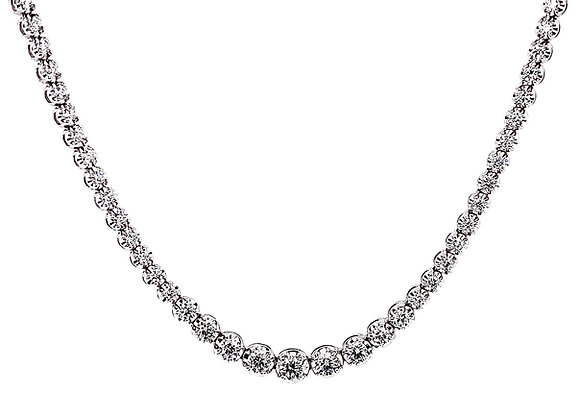 18kt White Gold 3.44ctw Round Diamond Tennis Necklace