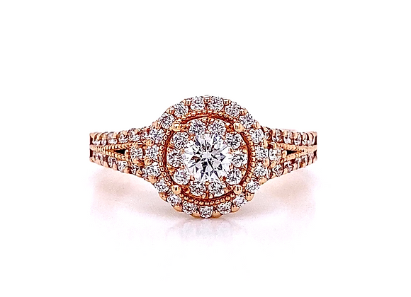 14kt Rose Gold 0.86ctw Round Diamond Double Halo Ring