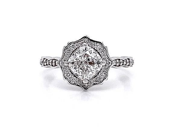 14kt White Gold 1.42ctw Cushion Cut & Round Diamond Halo Ring