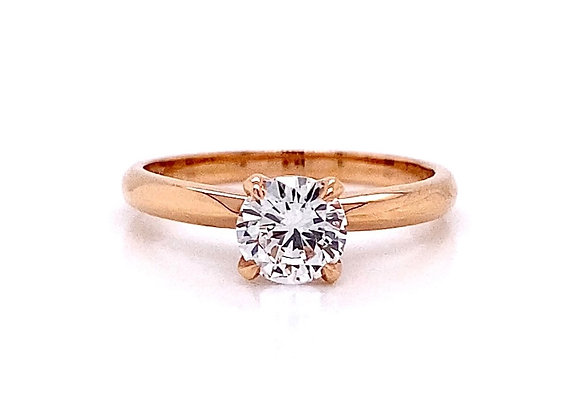 14kt Rose Gold 0.71ct Round Diamond Solitaire Ring
