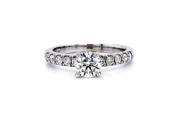 14kt White Gold 0.84ctw Round Diamond Side Stone Ring