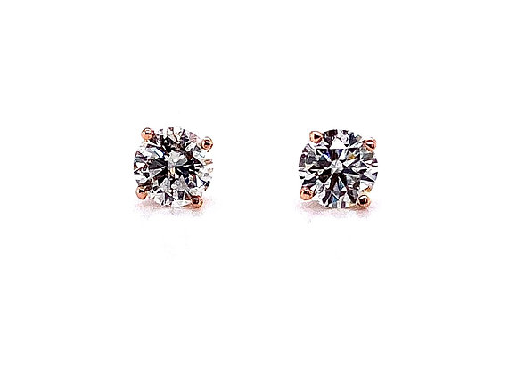 14kt Rose Gold Ladies 1.05ctw Round Diamond Stud Earrings