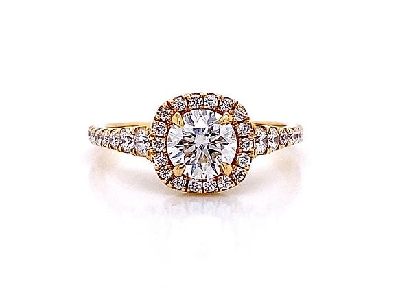 18kt Yellow Gold 1.11ctw Round Diamond Halo Ring
