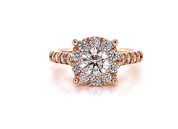 14kt Rose Gold 1.39ctw Round Diamond Halo Ring