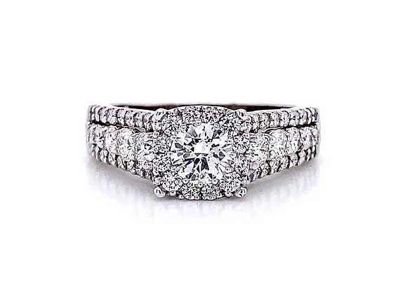 14kt White Gold 1.56ctw Round Diamond Halo Ring