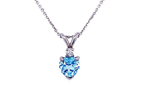 14kt White Gold Heart Shape Blue Topaz Gemstone and Diamond Pendant