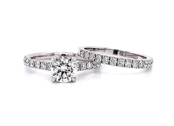 14kt White Gold 1.70ctw Round Diamond Wedding Set