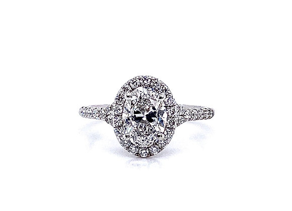 14kt White Gold 1.00ct Oval Diamond Halo Ring