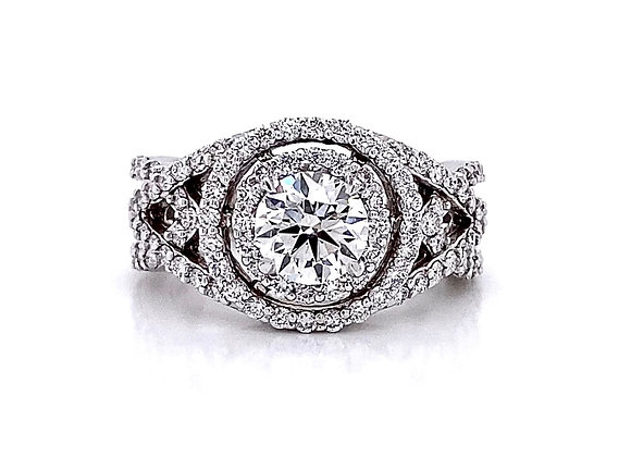 14kt White Gold 1.77ctw Round Diamond Halo Ring